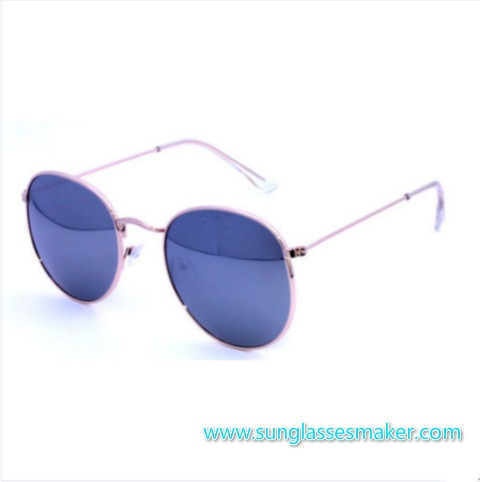 High Quality Metal Frame Mirror Lens Fashion Retro Round Metal Sunglasses (Ce and FDA)